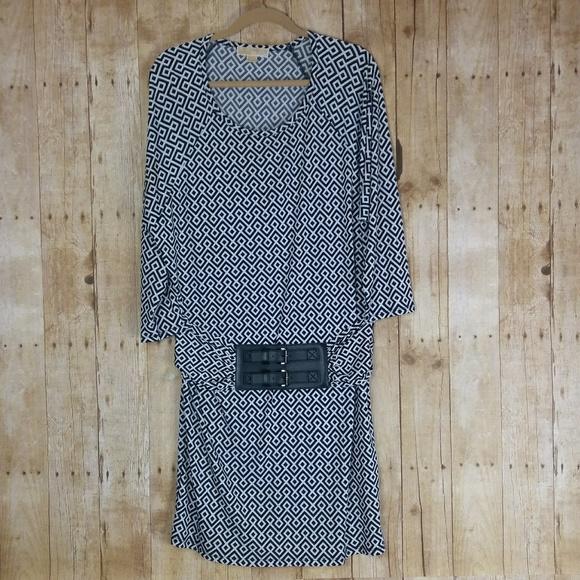 Michael Kors Dresses & Skirts - Michael Kors Black & White Dress With Belt Size L